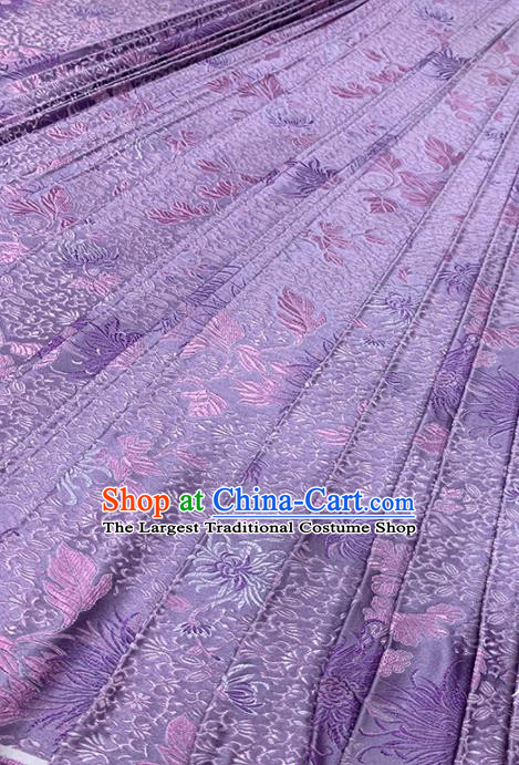 Chinese Classical Fireworks Pattern Design Light Purple Brocade Fabric Asian Traditional Satin Tang Suit Silk Material