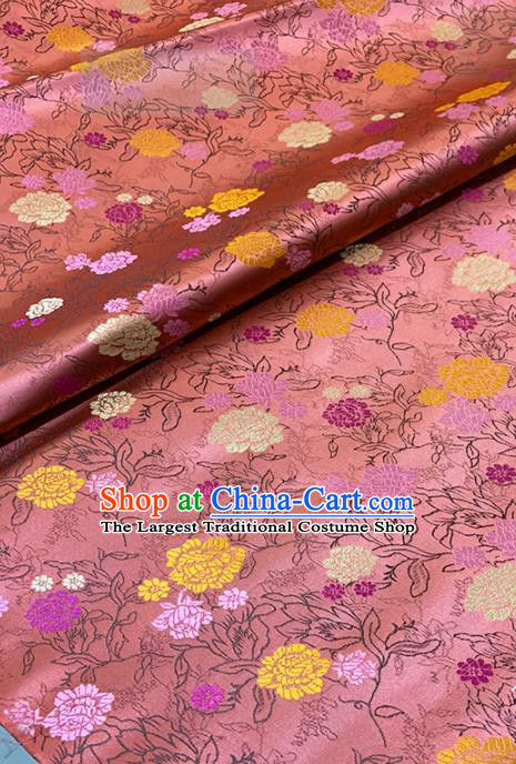 Chinese Classical Peony Pattern Design Deep Pink Brocade Fabric Asian Traditional Satin Tang Suit Silk Material