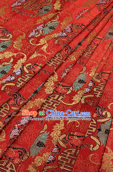 Chinese Classical Fancy Carp Pattern Design Red Brocade Fabric Asian Traditional Satin Tang Suit Silk Material