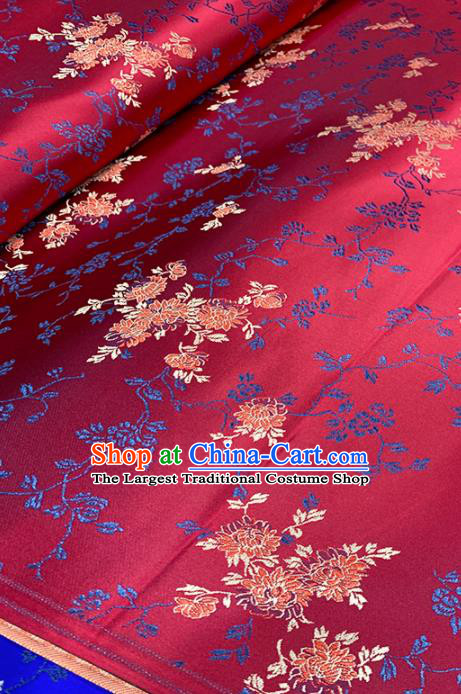 Chinese Classical Chrysanthemum Pattern Design Wine Red Brocade Fabric Asian Traditional Satin Tang Suit Silk Material