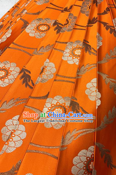Chinese Classical Lotus Pattern Design Orange Brocade Fabric Asian Traditional Satin Tang Suit Silk Material