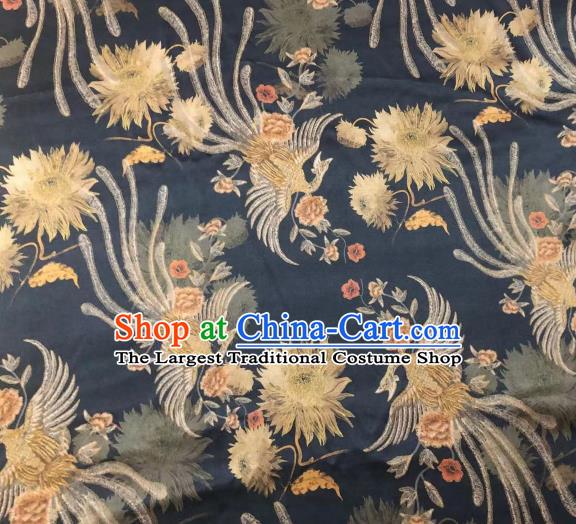Chinese Classical Phoenix Epiphyllum Pattern Design Black Gambiered Guangdong Gauze Fabric Asian Traditional Cheongsam Silk Material