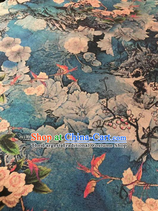 Chinese Classical Plum Pattern Design Blue Gambiered Guangdong Gauze Fabric Asian Traditional Cheongsam Silk Material