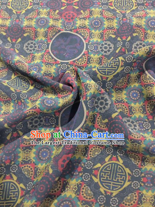 Chinese Classical Pattern Design Navy Gambiered Guangdong Gauze Fabric Asian Traditional Cheongsam Silk Material