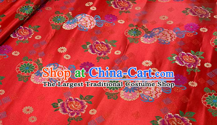 Chinese Classical Peony Daisy Pattern Design Red Brocade Fabric Asian Traditional Satin Tang Suit Silk Material