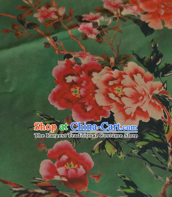 Chinese Classical Peony Pattern Design Green Gambiered Guangdong Gauze Fabric Asian Traditional Cheongsam Silk Material