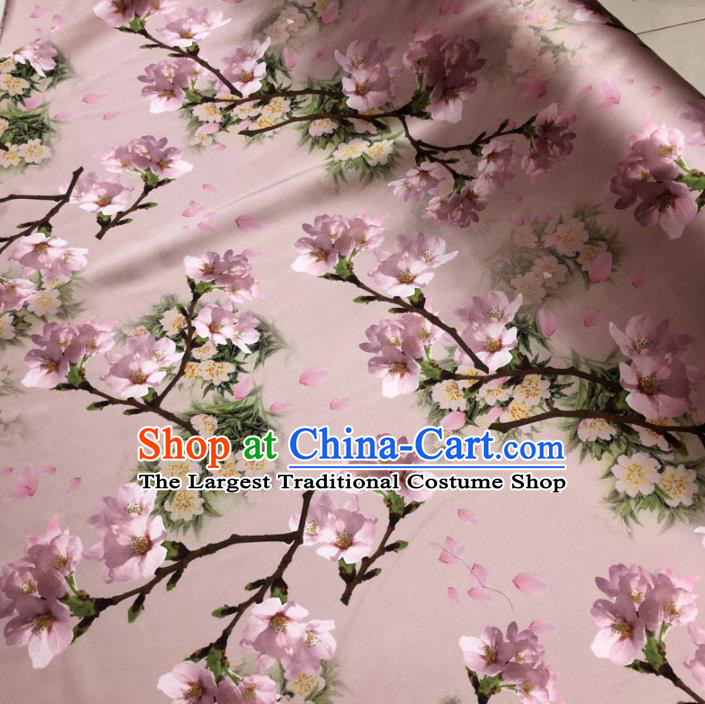 Chinese Classical Peach Blossom Pattern Design Pink Gambiered Guangdong Gauze Fabric Asian Traditional Cheongsam Silk Material