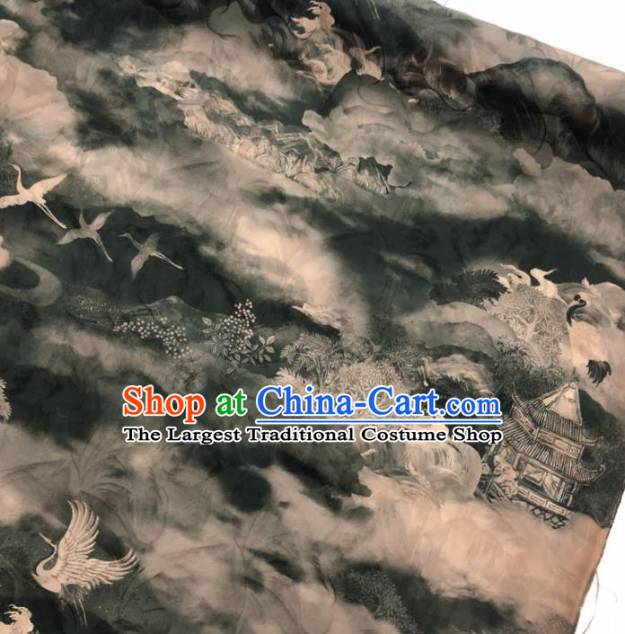 Chinese Classical Crane Pavilion Pattern Design Grey Gambiered Guangdong Gauze Fabric Asian Traditional Cheongsam Silk Material