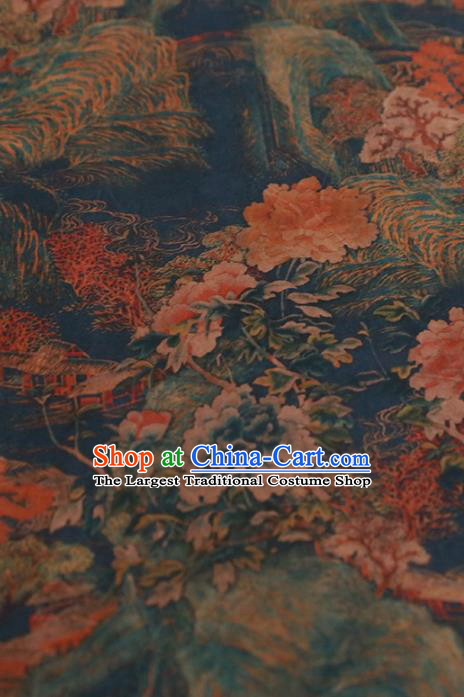 Chinese Classical Landscape Pattern Design Blue Gambiered Guangdong Gauze Fabric Asian Traditional Cheongsam Silk Material