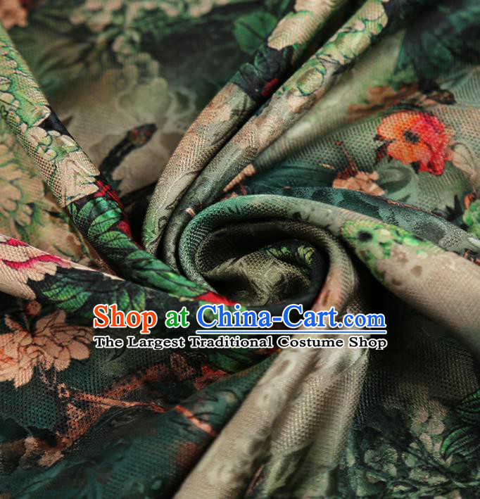 Chinese Classical Peony Pattern Design Deep Green Mulberry Silk Fabric Asian Traditional Cheongsam Silk Material