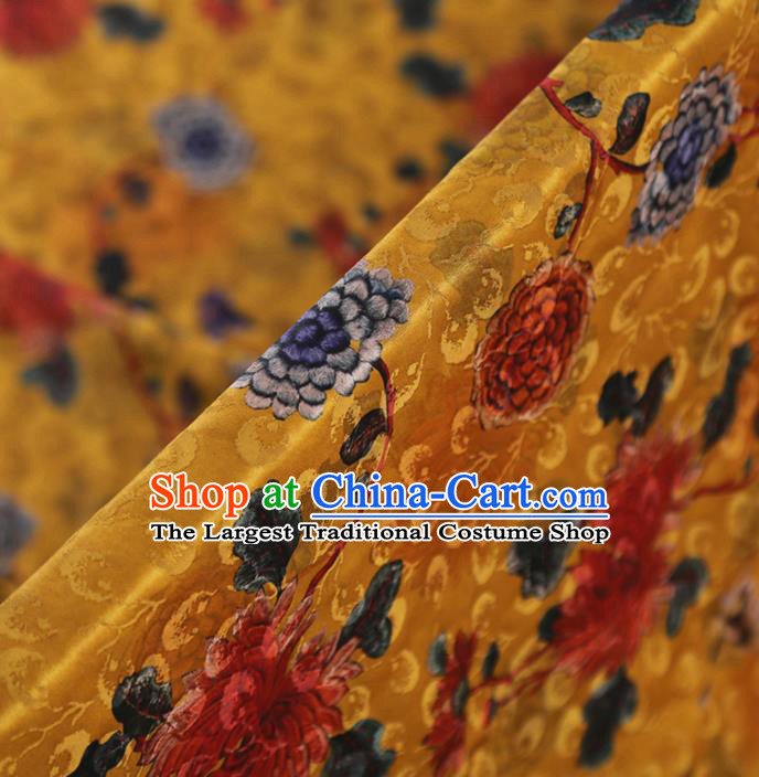 Chinese Classical Chrysanthemum Pattern Design Ginger Mulberry Silk Fabric Asian Traditional Cheongsam Silk Material