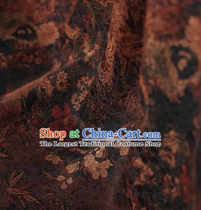 Chinese Classical Bamboo Plum Pattern Design Brown Mulberry Silk Fabric Asian Traditional Cheongsam Silk Material