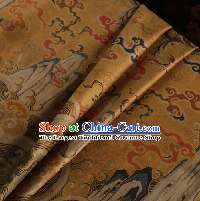 Chinese Classical Cloud Pattern Design Ginger Mulberry Silk Fabric Asian Traditional Cheongsam Silk Material