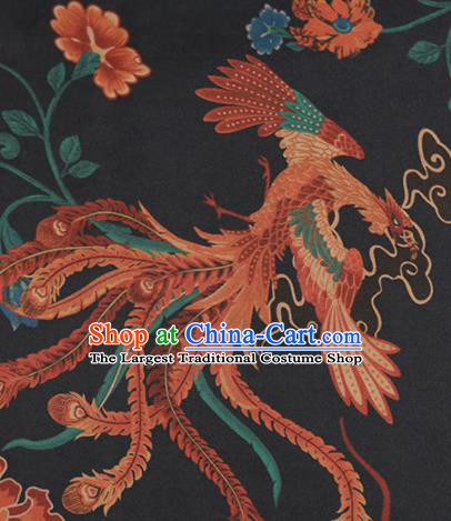 Chinese Classical Phoenix Pattern Design Black Mulberry Silk Fabric Asian Traditional Cheongsam Silk Material