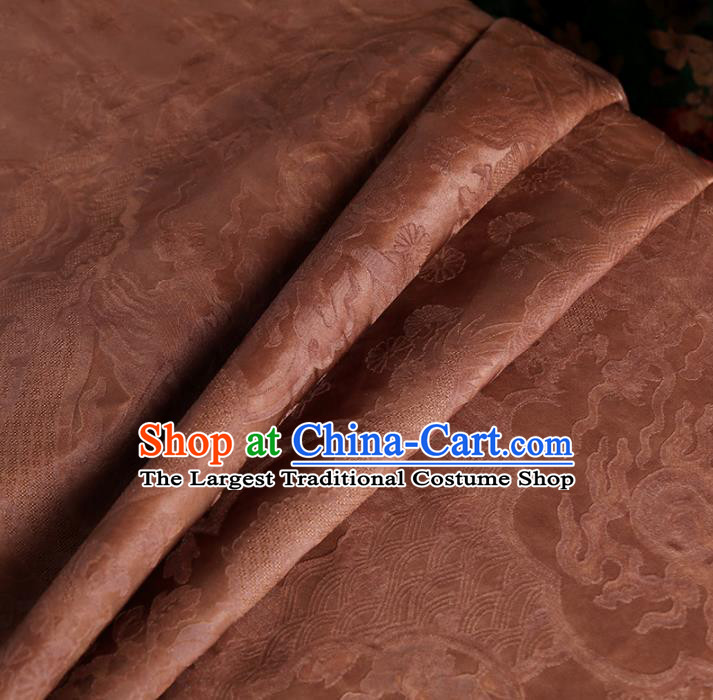 Chinese Classical Pattern Design Cameo Brown Mulberry Silk Fabric Asian Traditional Cheongsam Silk Material