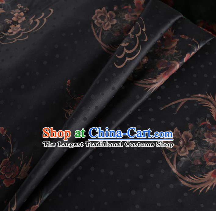 Chinese Classical Phoenix Peony Pattern Design Black Mulberry Silk Fabric Asian Traditional Cheongsam Silk Material
