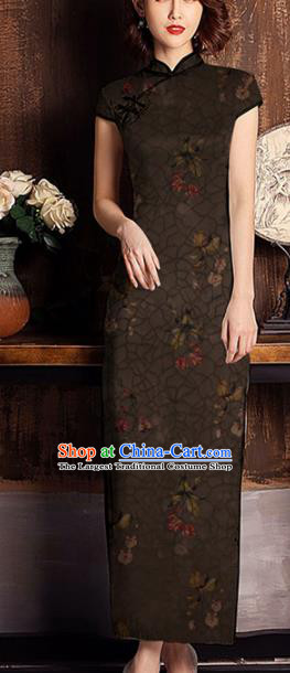 Chinese Classical Flowers Pattern Design Brown Mulberry Silk Fabric Asian Traditional Cheongsam Silk Material