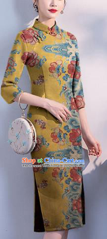 Chinese Classical Peony Pattern Design Yellow Mulberry Silk Fabric Asian Traditional Cheongsam Silk Material