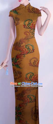 Chinese Classical Orchid Pattern Design Ginger Mulberry Silk Fabric Asian Traditional Cheongsam Silk Material