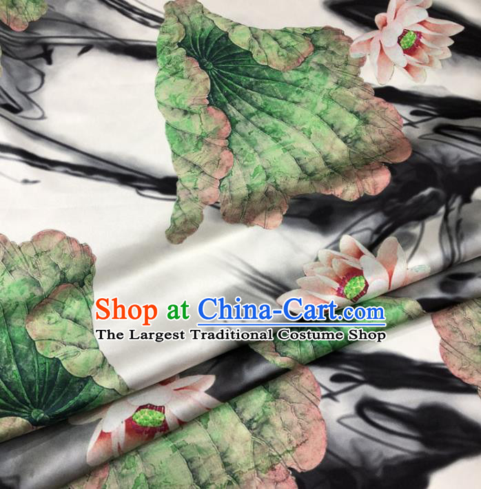 Chinese Classical Lotus Pattern Design White Gambiered Guangdong Gauze Fabric Asian Traditional Cheongsam Silk Material