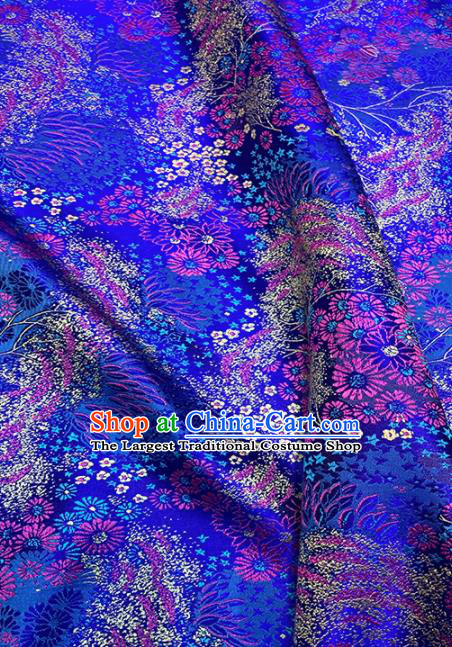 Chinese Classical Pattern Design Royalblue Brocade Fabric Asian Traditional Satin Tang Suit Silk Material