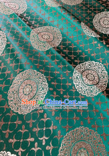 Chinese Classical Round Flowers Pattern Design Green Brocade Fabric Asian Traditional Satin Tang Suit Silk Material