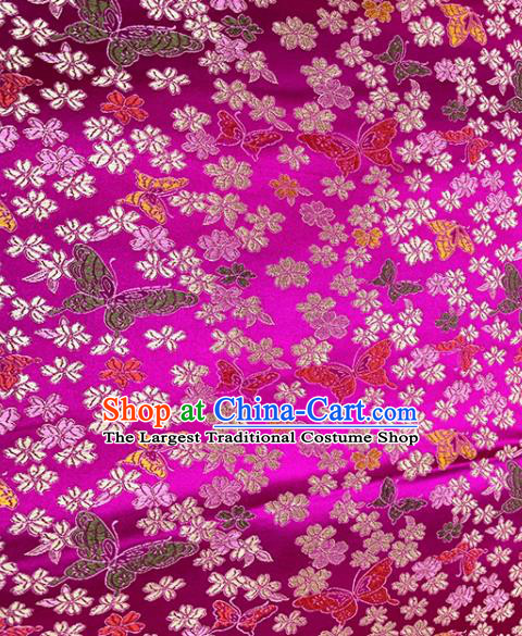 Chinese Classical Butterfly Plum Pattern Design Rosy Brocade Fabric Asian Traditional Satin Tang Suit Silk Material