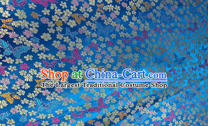 Chinese Classical Butterfly Plum Pattern Design Blue Brocade Fabric Asian Traditional Satin Tang Suit Silk Material