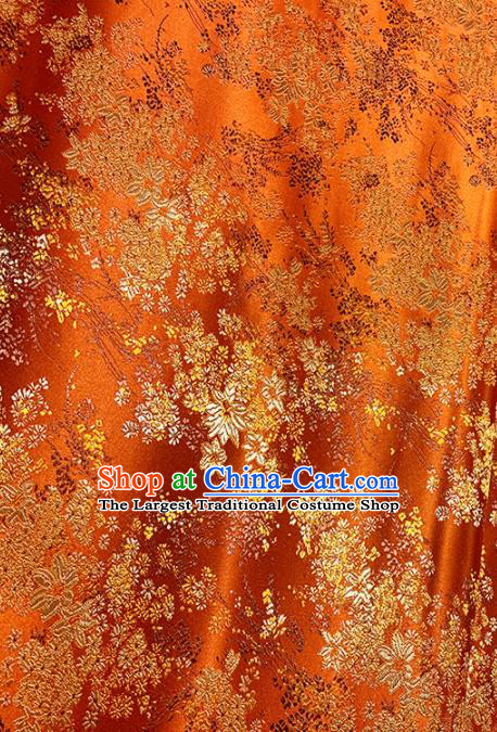 Chinese Classical Maple Leaf Pattern Design Orange Brocade Fabric Asian Traditional Satin Tang Suit Silk Material