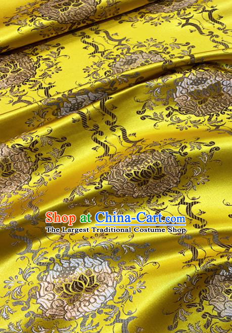 Chinese Classical Royal Lotus Pattern Design Golden Brocade Fabric Asian Traditional Satin Tang Suit Silk Material