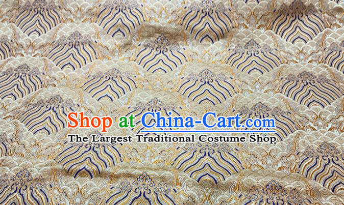 Chinese Classical Royal Wave Pattern Design Golden Brocade Fabric Asian Traditional Satin Tang Suit Silk Material
