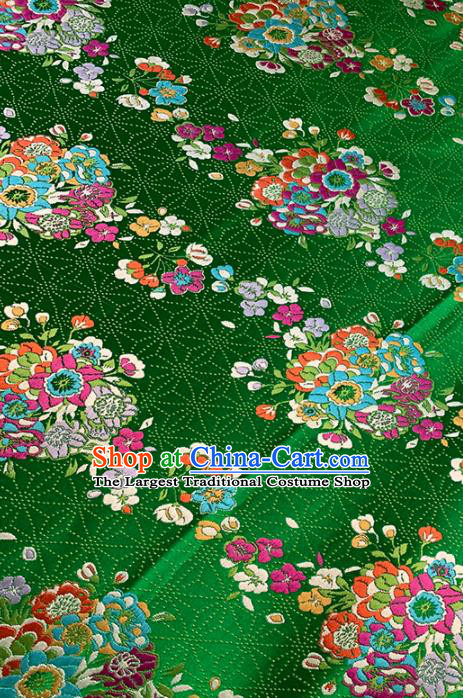 Chinese Classical Bouquet Pattern Design Deep Green Brocade Fabric Asian Traditional Satin Tang Suit Silk Material