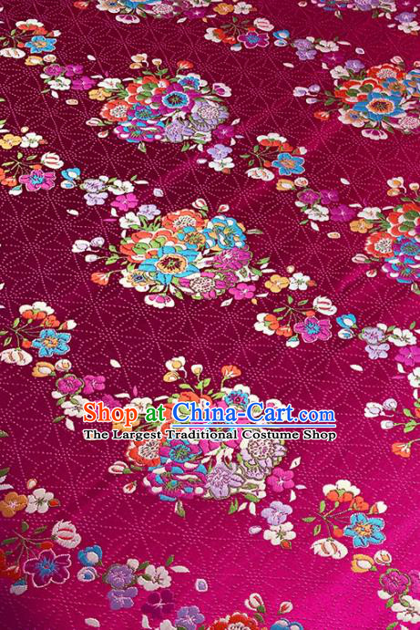 Chinese Classical Bouquet Pattern Design Rosy Brocade Fabric Asian Traditional Satin Tang Suit Silk Material