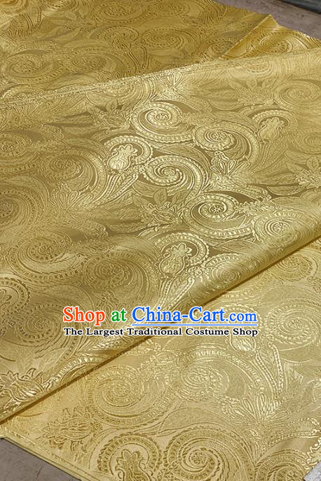 Chinese Classical Royal Conch Pattern Design Golden Brocade Fabric Asian Traditional Satin Tang Suit Silk Material