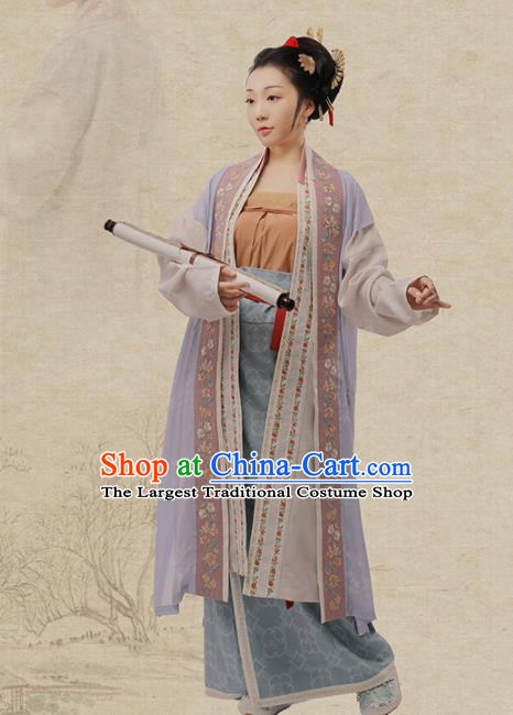 Chinese Ancient Nobility Female Hanfu Dress Traditional Song Dynasty Poetess Zhu Shuzhen Costumes for Women