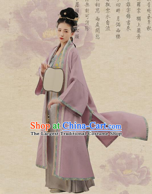 Chinese Ancient Nobility Dowager Hanfu Dress Traditional Song Dynasty Poetess Li Qingzhao Costumes for Women