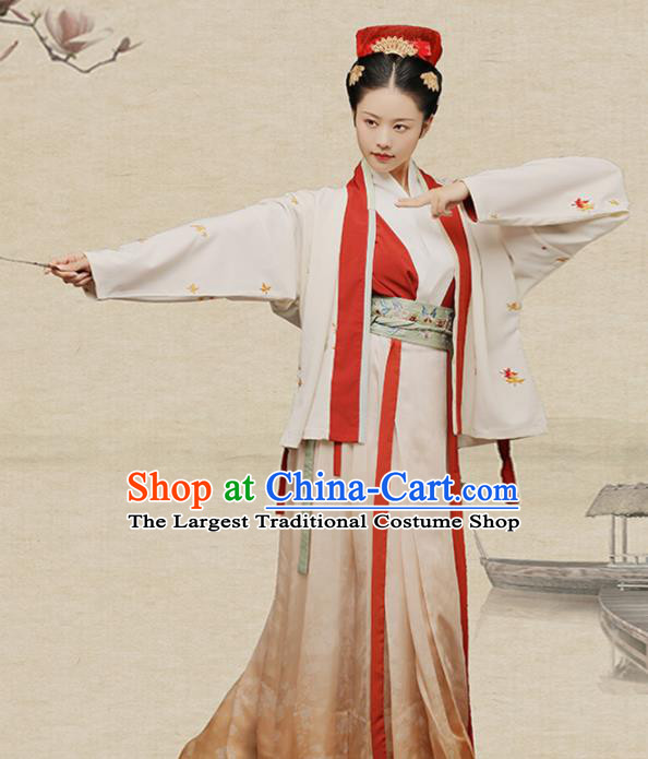 Chinese Ancient Female Swordsman Hanfu Dress Traditional Song Dynasty Heroine Liang Hongyu Costumes for Women