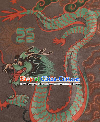 Chinese Classical Dragon Pattern Design Deep Brown Mulberry Silk Fabric Asian Traditional Cheongsam Silk Material
