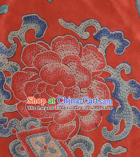 Chinese Classical Peony Pattern Design Red Mulberry Silk Fabric Asian Traditional Cheongsam Silk Material