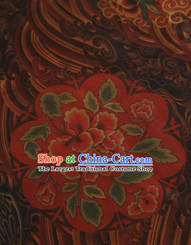 Chinese Classical Peony Pattern Design Deep Brown Mulberry Silk Fabric Asian Traditional Cheongsam Silk Material