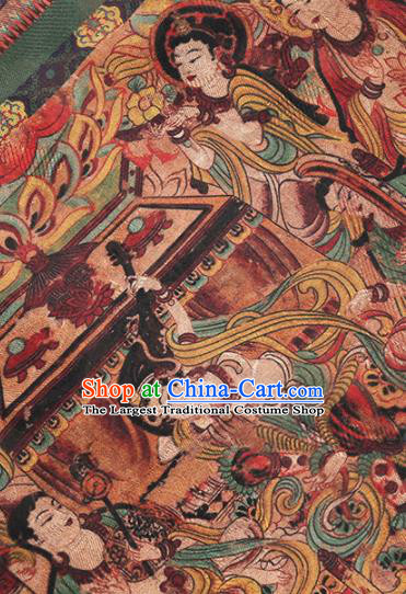 Chinese Classical Bodhisattva Pattern Design Deep Brown Mulberry Silk Fabric Asian Traditional Cheongsam Silk Material