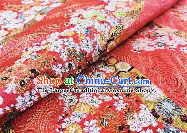 Chinese Classical Royal Cherry Blossom Pattern Design Red Brocade Fabric Asian Traditional Satin Tang Suit Silk Material