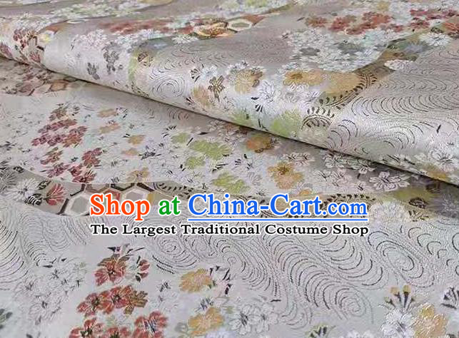 Chinese Classical Royal Cherry Blossom Pattern Design White Brocade Fabric Asian Traditional Satin Tang Suit Silk Material