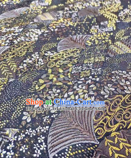 Chinese Classical Royal Cherry Fan Pattern Design Black Brocade Fabric Asian Traditional Satin Tang Suit Silk Material