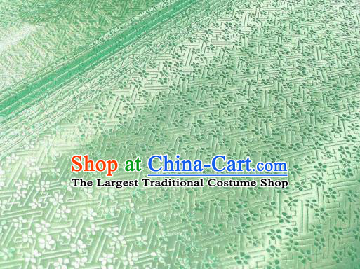 Chinese Classical Babysbreath Pattern Design Light Green Brocade Fabric Asian Traditional Satin Silk Material