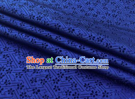 Chinese Classical Babysbreath Pattern Design Navy Brocade Fabric Asian Traditional Satin Silk Material