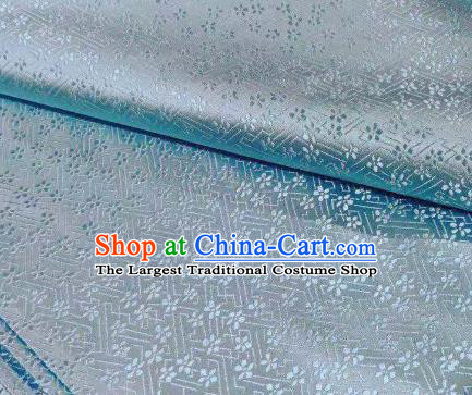 Chinese Classical Babysbreath Pattern Design Light Blue Brocade Fabric Asian Traditional Satin Silk Material