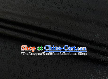 Chinese Classical Babysbreath Pattern Design Black Brocade Fabric Asian Traditional Satin Silk Material