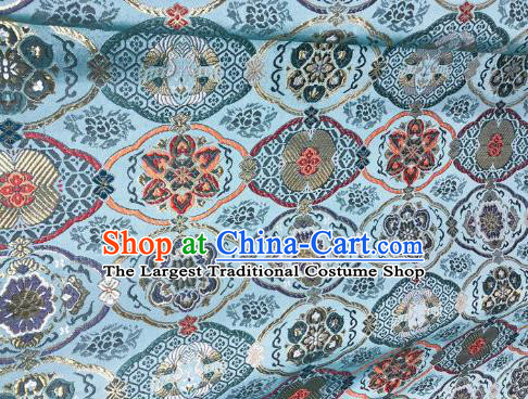 Japanese Kimono Classical Pattern Design Light Blue Brocade Fabric Asian Traditional Satin Silk Material