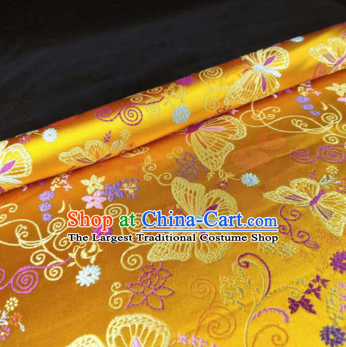 Chinese Classical Royal Butterfly Pattern Design Golden Brocade Fabric Asian Traditional Satin Tang Suit Silk Material